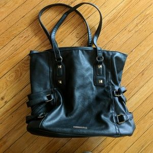 Rampage Black Leather Tote Bag Purse